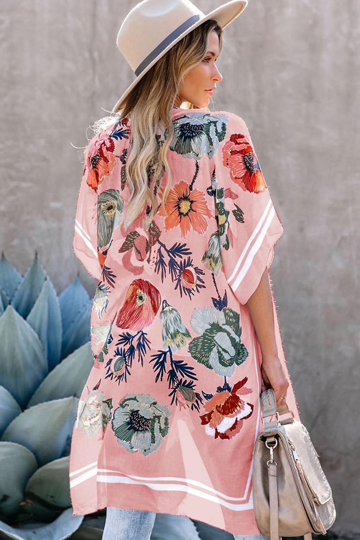 粉色和服式短袖度假花卉印花罩衫 LC254279