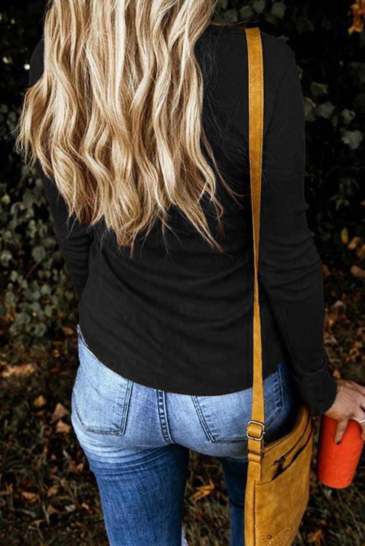 黑色罗纹纹理纽扣领口修身长袖女士上衣 LC2512979