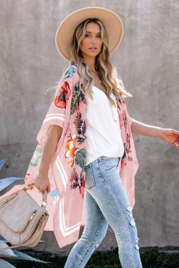 粉色和服式短袖度假花卉印花罩衫