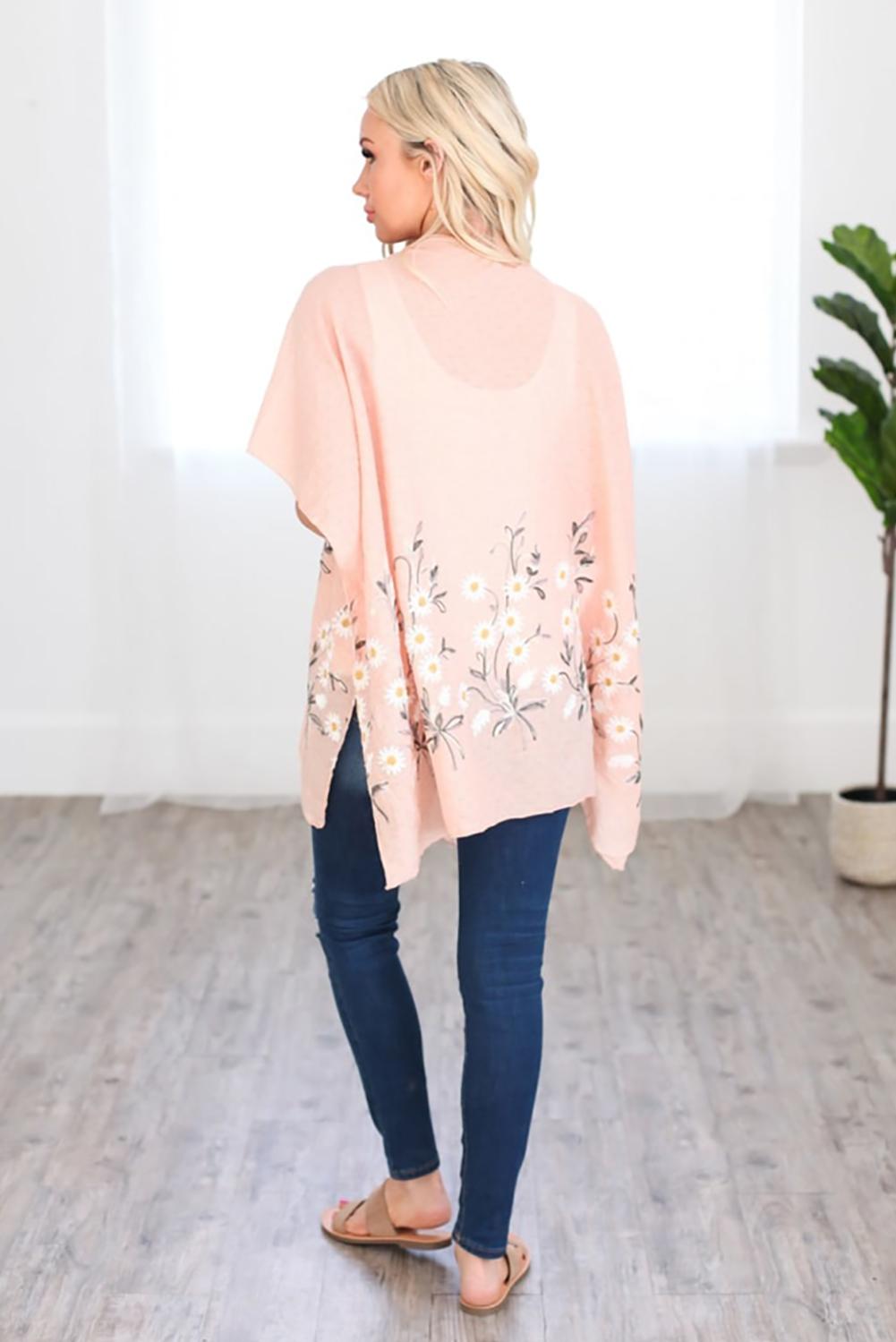粉色可爱雏菊轻盈和服式罩衫 LC254253
