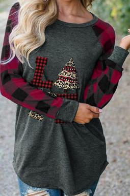 红色格子拼接长袖圣诞元素印花舒适上衣
