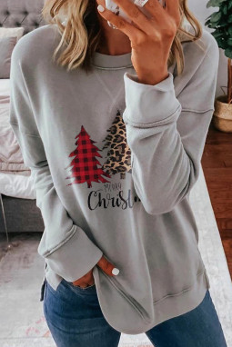 灰色落肩长袖时尚圣诞树印花休闲套头衫