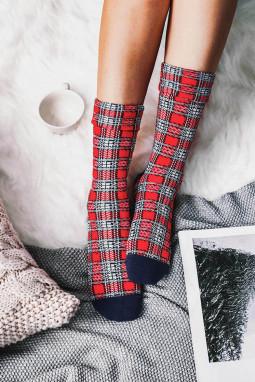 圣诞格子拼接冬季保暖长袜