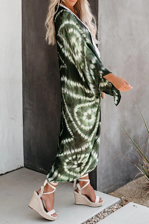 绿色蝙蝠袖时尚扎染印花开放式罩衫 LC254288