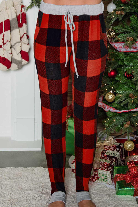 圣诞红色格子口袋抽绳束脚休闲裤 LC77664