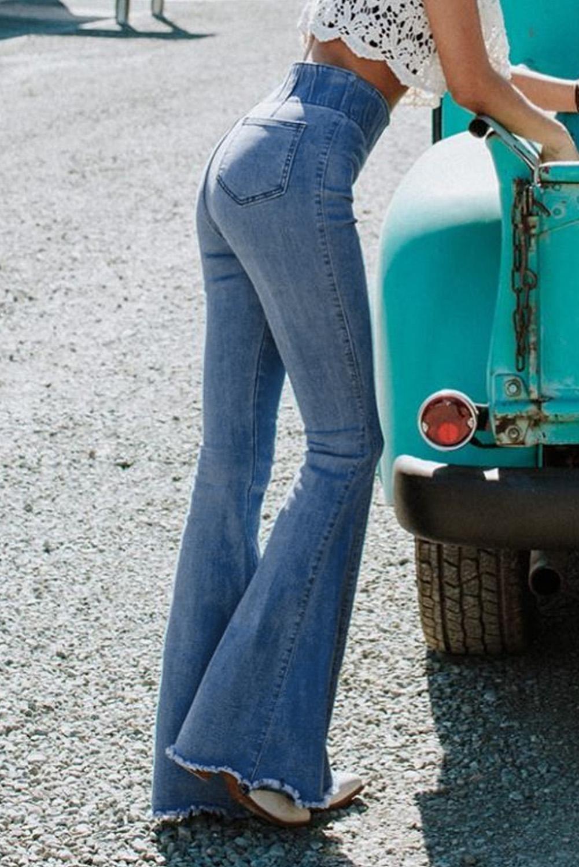 蓝色时尚复古高腰修身喇叭牛仔裤 LC78326