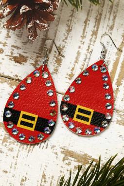 红色圣诞节水钻装饰皮革耳环