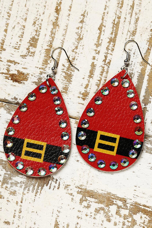 红色圣诞节水钻装饰皮革耳环 LC01720