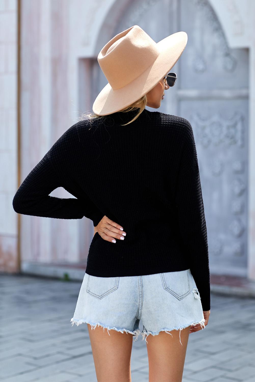 黑色简约舒适V领长袖针织毛衣 LC272014
