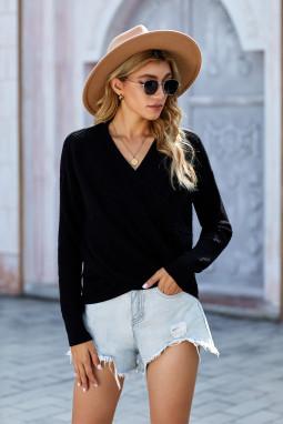 黑色简约舒适V领长袖针织毛衣