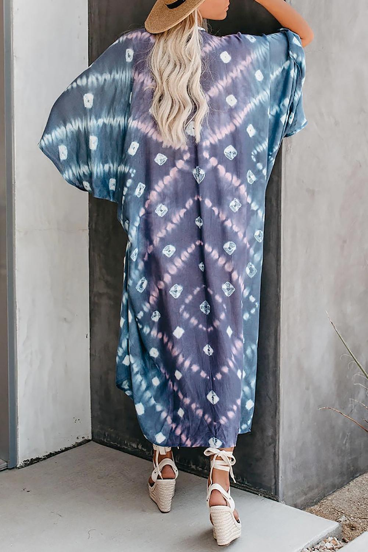 天蓝色蝙蝠袖时尚扎染印花开放式罩衫 LC254288