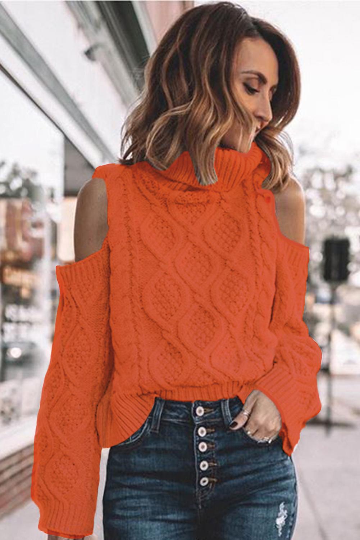 Orange Turtleneck Cold Shoulder Textured Sweater LC272693