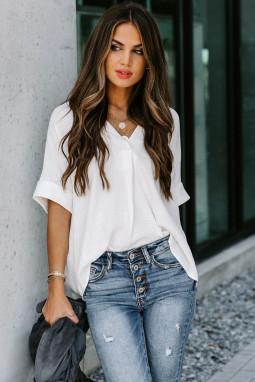 白色短袖别致后背纽扣纯色女士衬衫