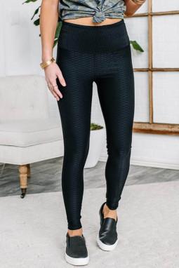 黑色弹性透气质感纹理紧身打底裤