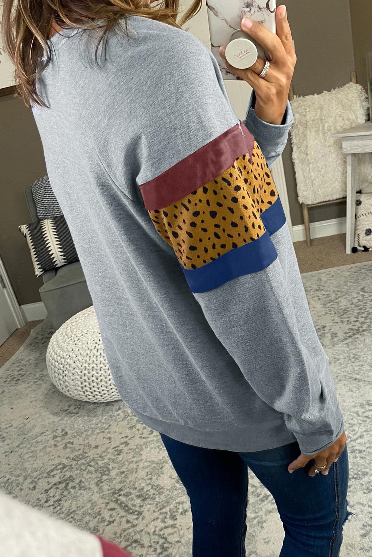 灰色圆领长袖豹纹拼色女士卫衣 LC2533739