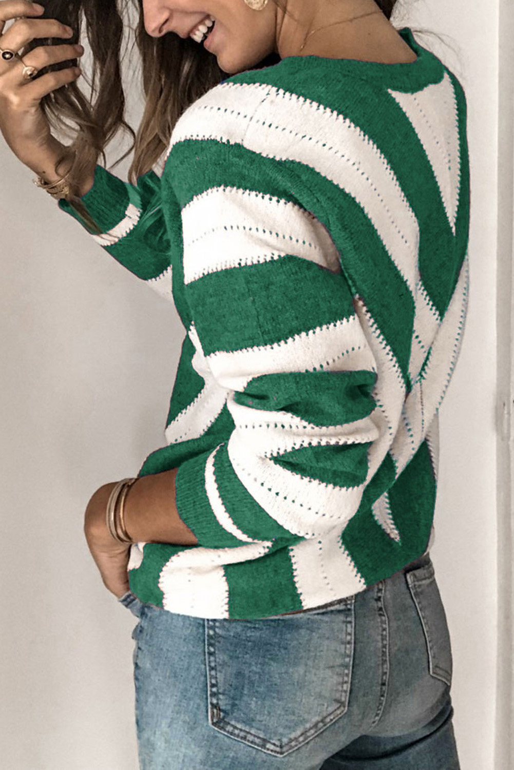 Green Striped Colorblock V Neck Knitted Sweater LC272144
