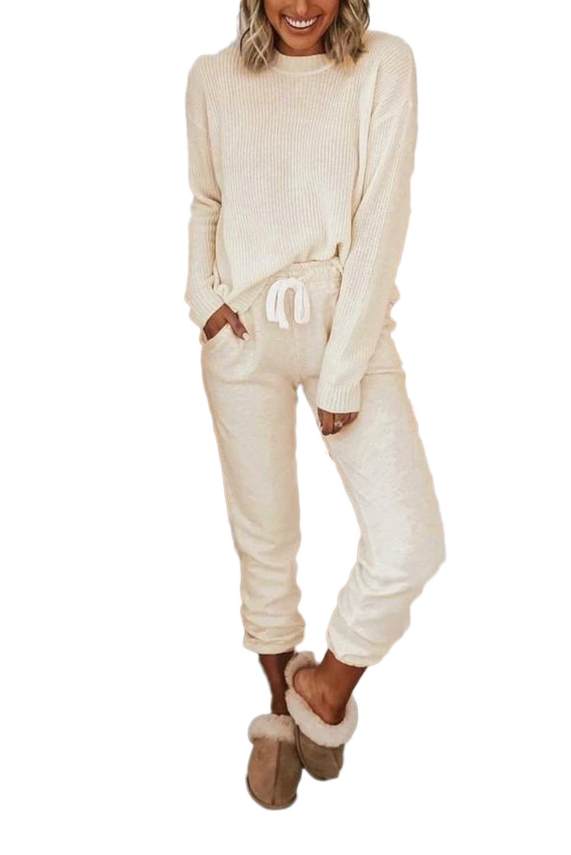 罗纹纹理口袋抽绳长袖睡衣休闲服套装 LC451401