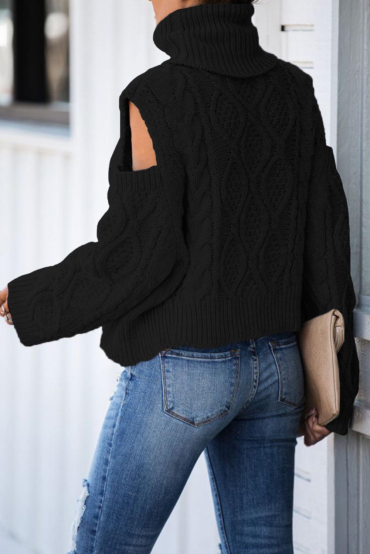 Black Turtleneck Cold Shoulder Textured Sweater LC272693