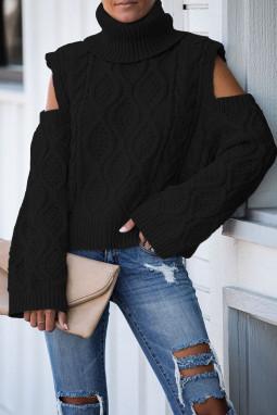 Black Turtleneck Cold Shoulder Textured Sweater