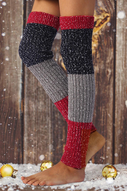 雪花效果拼色针织袜套 LC09223