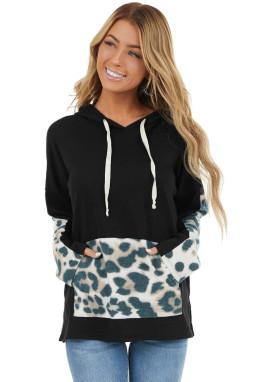 Black Long Sleeve Hoodie With Leopard Print Details