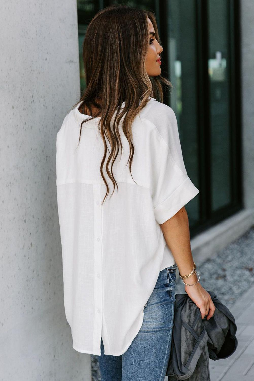 白色短袖别致后背纽扣纯色女士衬衫 LC255459