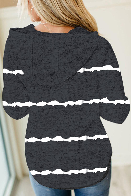 黑色长袖扎染条纹纽扣抽绳连帽衫 LC2533086