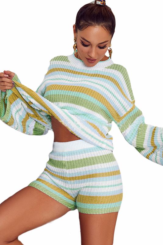 Yellow Striped Knit Top and Shorts Loungewear Set LC451763