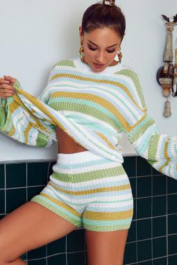 Yellow Striped Knit Top and Shorts Loungewear Set