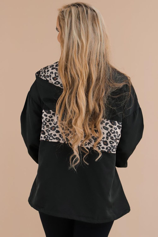 豹纹拼接袋鼠口袋拉链衣领黑色套头连帽衫 LC2532578
