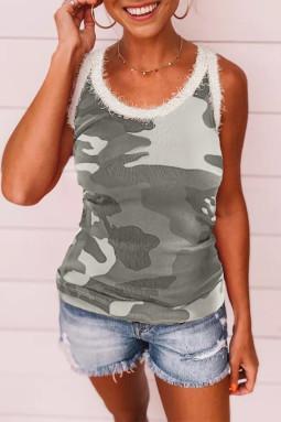 Gray Scoop Neck Sleeveless Camo Print Skinny Tank Top