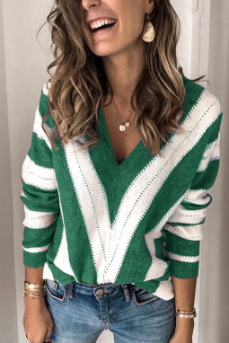 Green Striped Colorblock V Neck Knitted Sweater