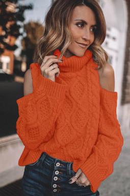 Orange Turtleneck Cold Shoulder Textured Sweater