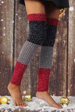 雪花效果拼色针织袜套