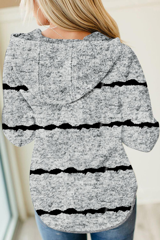 灰色长袖扎染条纹纽扣抽绳连帽衫 LC2533086