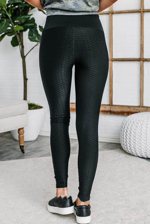 黑色弹性透气质感纹理紧身打底裤 LC76128