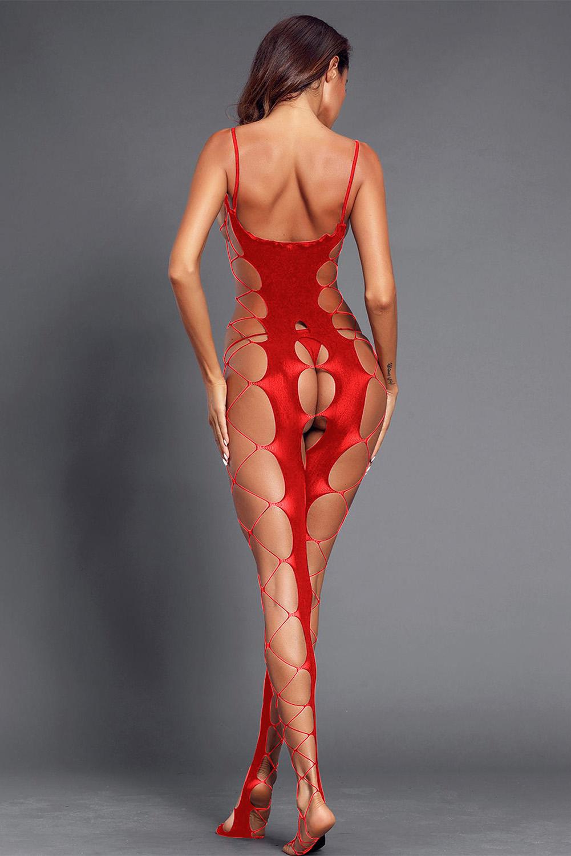 红色性感鱼网大胆镂空开裆连体丝袜 LC790063