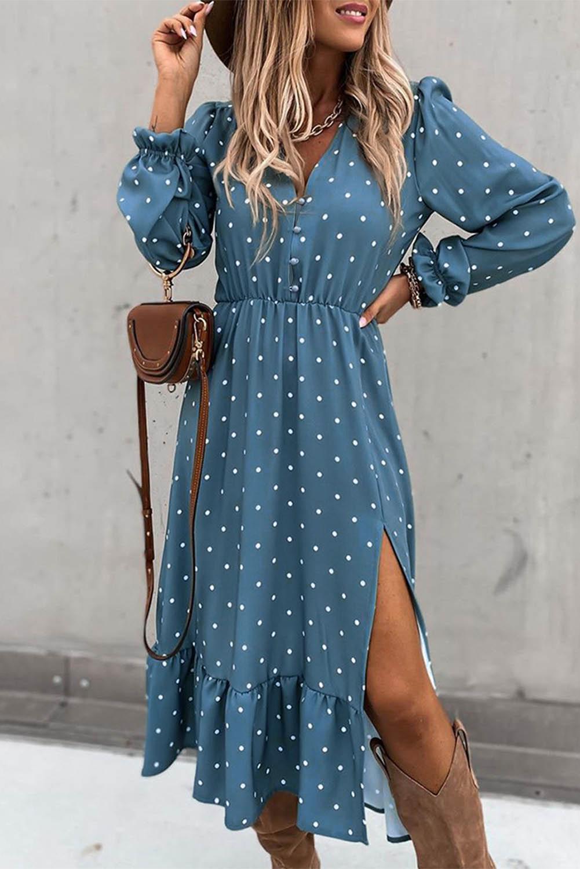 蓝色灯笼袖波点高开叉荷叶边中长连衣裙 LC612884