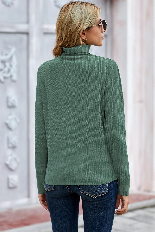 绿色简约高领罗纹长袖上衣 LC2514558