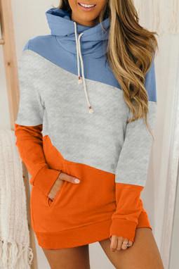 橙蓝拼色高领长袖口袋宽松舒适连帽衫