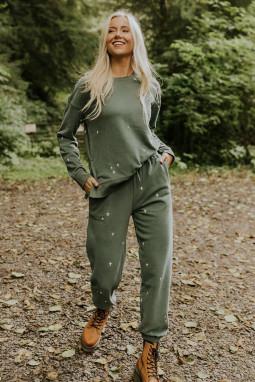 绿色简洁修身十字图案长袖套衫长裤休闲运动两件套