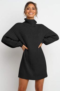 黑色优雅高领气球袖毛衣连衣裙