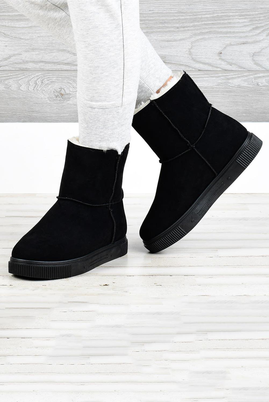 黑色拉链橡胶平底毛绒保暖雪地靴 LC12623