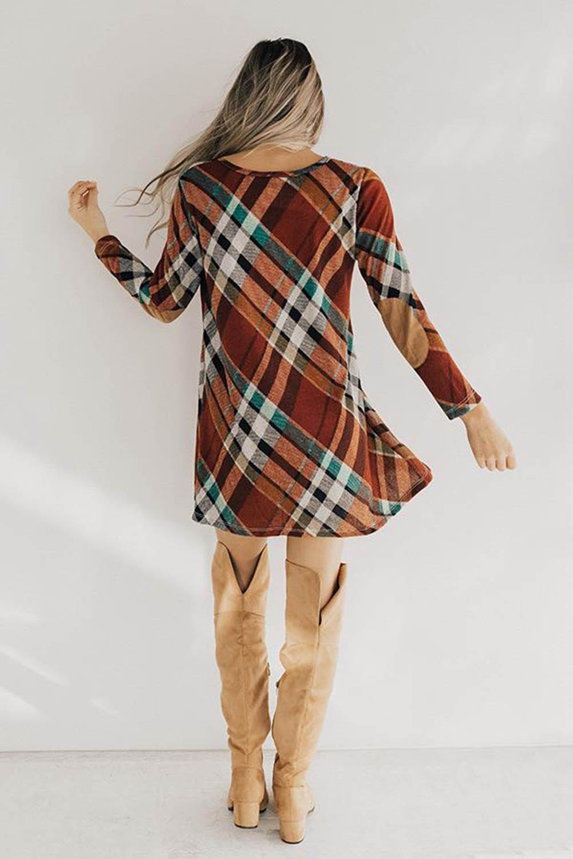流行格子圆领肘部补丁长袖合身迷你连衣裙 LC222915