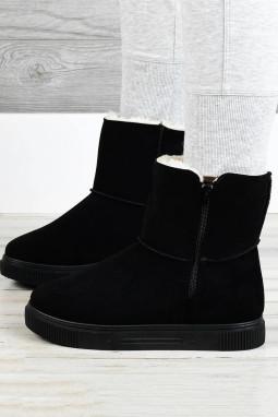 黑色拉链橡胶平底毛绒保暖雪地靴