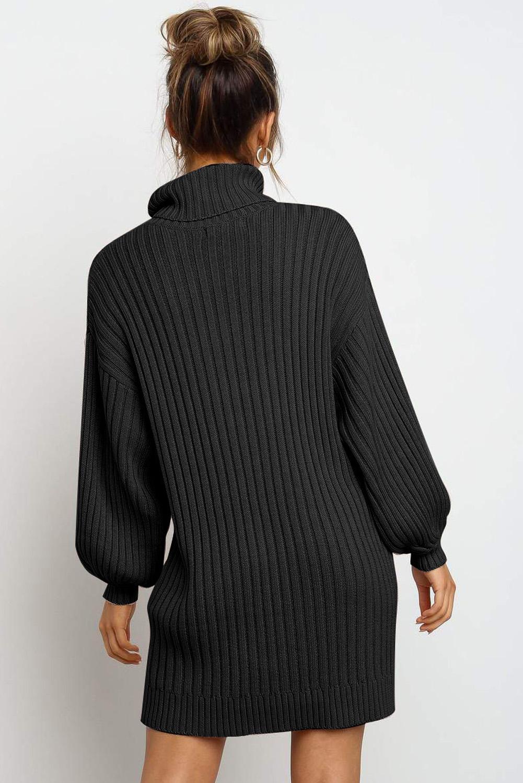黑色优雅高领气球袖毛衣连衣裙 LC273066