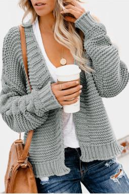 灰色休闲长袖厚实针织女士开衫