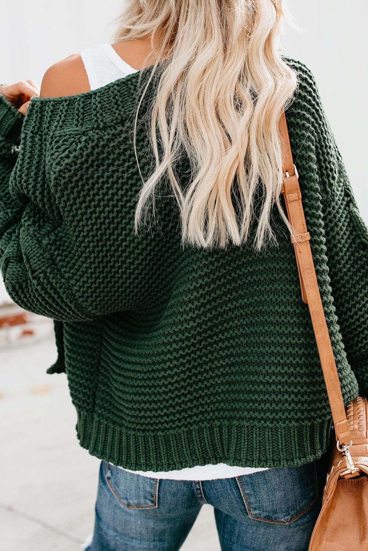 绿色休闲长袖厚实针织女士开衫 LC271171