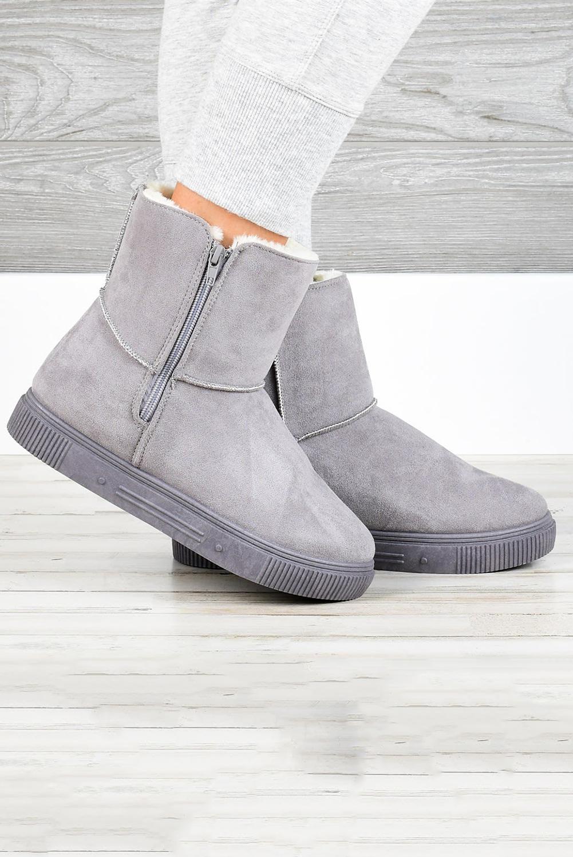 灰色拉链橡胶平底毛绒保暖雪地靴 LC12623