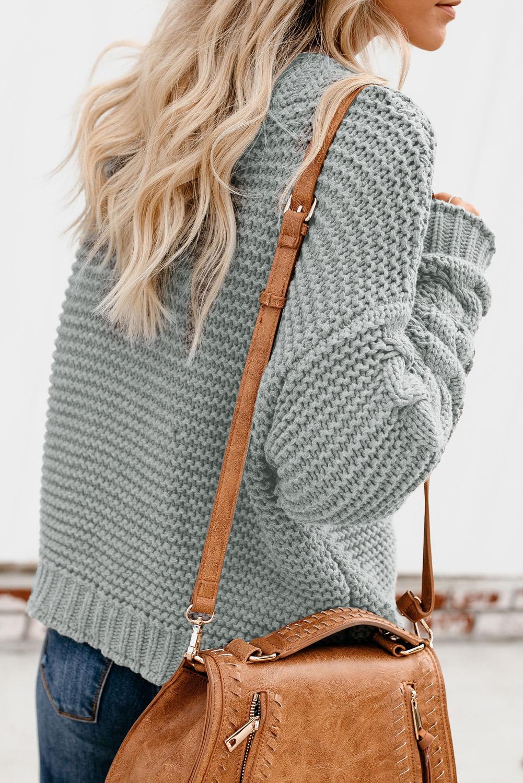 灰色休闲长袖厚实针织女士开衫 LC271171